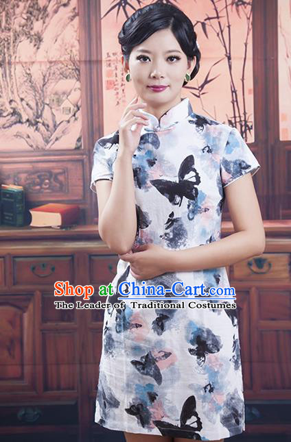 Traditional Ancient Chinese Republic of China Cheongsam, Asian Chinese Chirpaur Printing Butterfly Silk Qipao Dress Clothing for Women