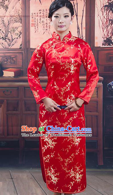 Traditional Ancient Chinese Republic of China Cheongsam, Asian Chinese Chirpaur Red Silk Qipao Dress Clothing for Women
