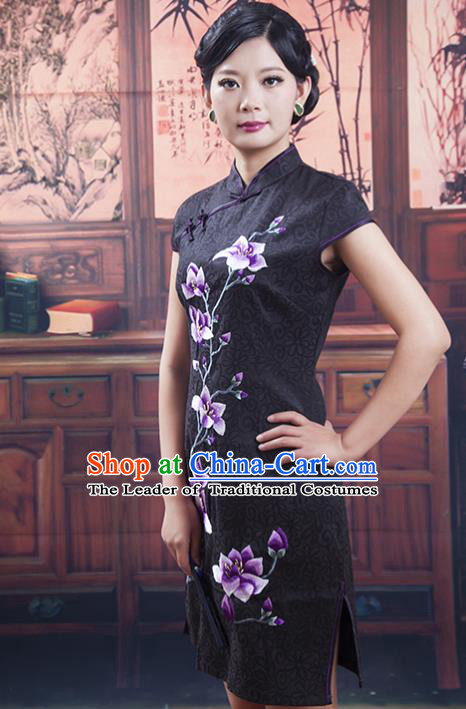 Traditional Ancient Chinese Republic of China Cheongsam, Asian Chinese Chirpaur Short Black Qipao Dress Clothing for Women