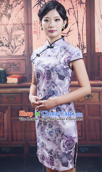 Traditional Ancient Chinese Republic of China Cheongsam, Asian Chinese Chirpaur Short Lilac Qipao Dress Clothing for Women