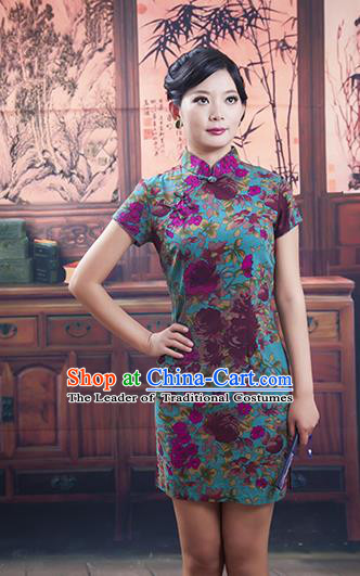 Traditional Ancient Chinese Republic of China Cheongsam, Asian Chinese Chirpaur Short Green Qipao Dress Clothing for Women
