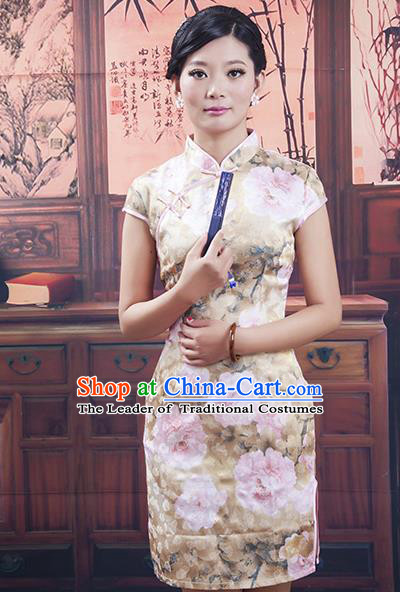 Traditional Ancient Chinese Republic of China Cheongsam, Asian Chinese Chirpaur Short Printing Qipao Dress Clothing for Women