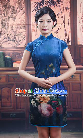 Traditional Ancient Chinese Republic of China Cheongsam, Asian Chinese Chirpaur Short Blue Qipao Dress Clothing for Women