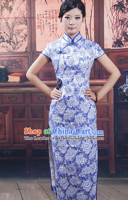 Traditional Ancient Chinese Republic of China Cheongsam, Asian Chinese Chirpaur Blue Silk Embroidered Qipao Dress Clothing for Women
