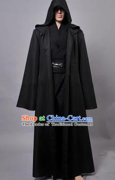 Asian China Ancient Han Dynasty Swordsman Costume, Traditional Chinese Kawaler Hanfu Embroidered Black Clothing for Men