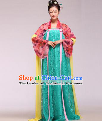 Traditional Ancient Chinese Palace Lady Costume Long Cloak, Asian Chinese Tang Dynasty Princess Printing Dress Clothing for Women