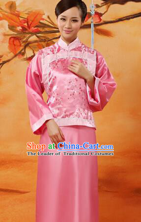 Traditional Ancient Chinese Imperial Consort Costume, Chinese Qing Dynasty Manchu Lady Princess Embroidered Pink Dress Clothing for Women