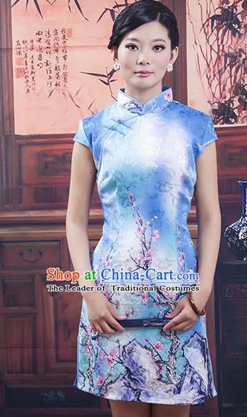 Traditional Ancient Chinese Republic of China Cheongsam, Asian Chinese Chirpaur Blue Qipao Dress Clothing for Women