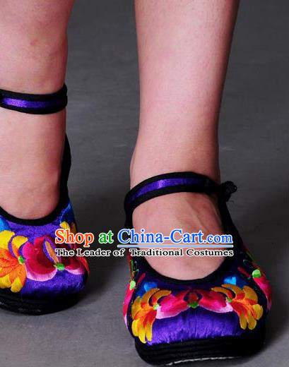 Traditional Chinese National Blue Cloth Shoes Embroidered Shoes, China Handmade Shoes Hanfu Embroidery Flower Shoes for Women