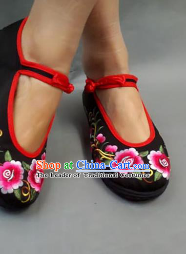 Traditional Chinese National Embroidered Shoes Black Cloth Shoes, China Handmade Shoes Hanfu Embroidery Flowers Shoes for Women