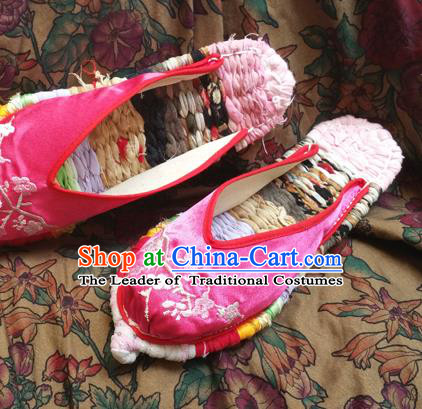 Traditional Chinese National Embroidered Shoes Handmade Pink Satin Slippers, China Hanfu Embroidery Flowers Shoes for Women