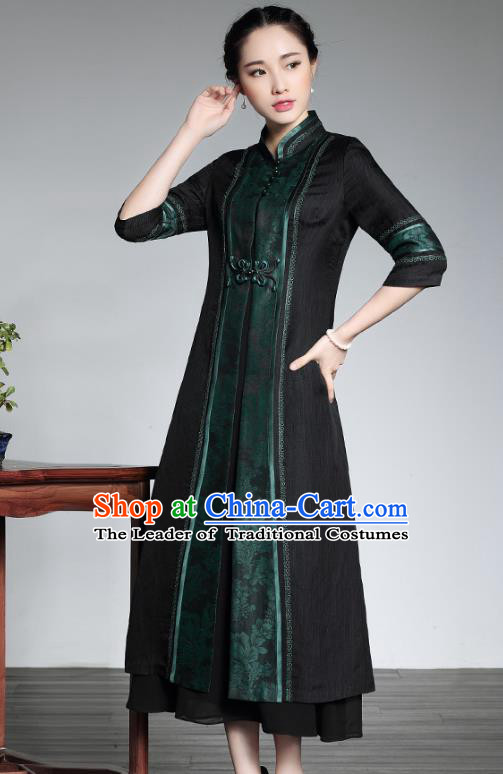Traditional Chinese National Costume Elegant Hanfu Cheongsam Green Coat, China Tang Suit Plated Buttons Chirpaur Dust Coat for Women