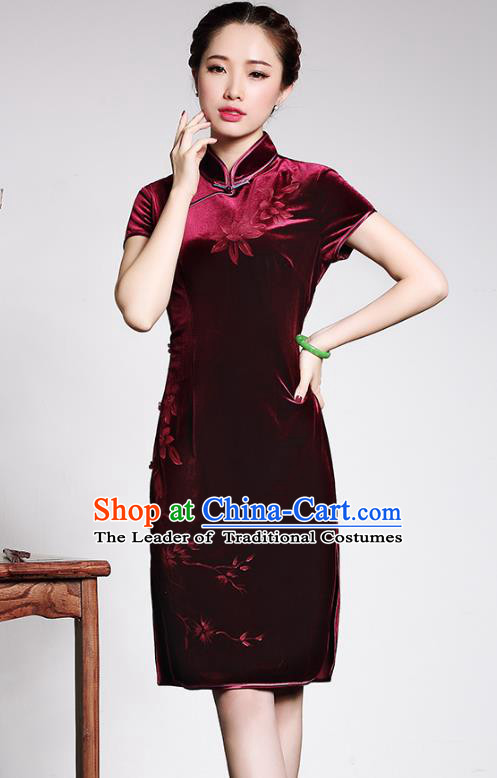 Traditional Chinese National Costume Elegant Hanfu Wine Red Velvet Cheongsam, China Tang Suit Plated Buttons Chirpaur Dress for Women