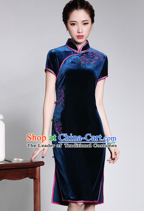 Traditional Chinese National Costume Elegant Hanfu Royalblue Velvet Cheongsam, China Tang Suit Plated Buttons Chirpaur Dress for Women