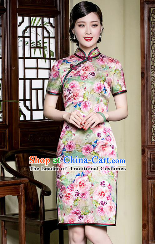 Traditional Chinese National Costume Elegant Hanfu Mulberry Silk Cheongsam, China Tang Suit Plated Buttons Chirpaur Dress for Women