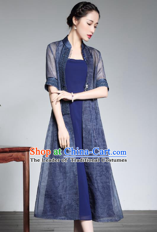 Traditional Chinese National Costume Elegant Hanfu Blue Cheongsam and Coat, China Tang Suit Chirpaur Dust Coat for Women