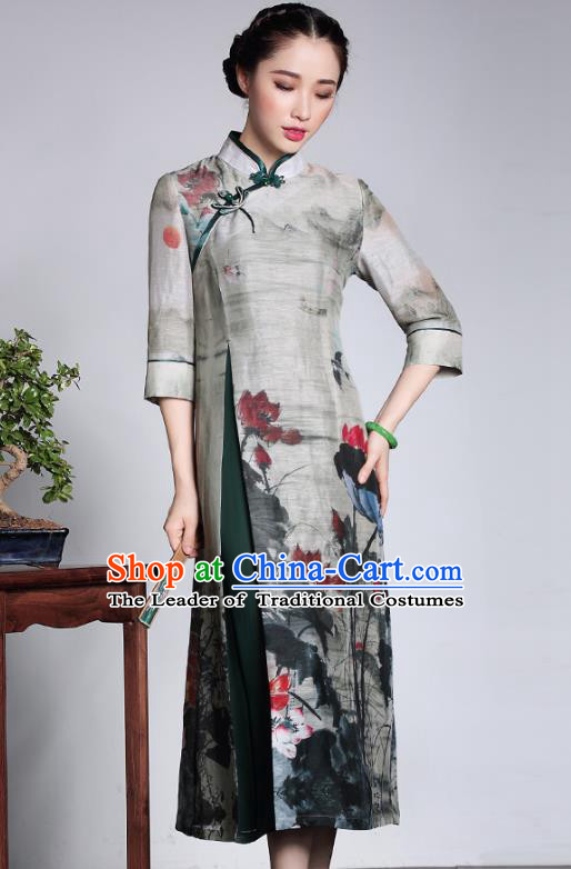 Traditional Chinese National Costume Elegant Hanfu Grey Linen Cheongsam, China Tang Suit Plated Buttons Chirpaur Dress for Women