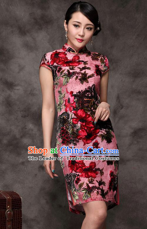 Traditional Chinese National Costume Elegant Hanfu Pink Silk Cheongsam, China Tang Suit Plated Buttons Chirpaur Dress for Women