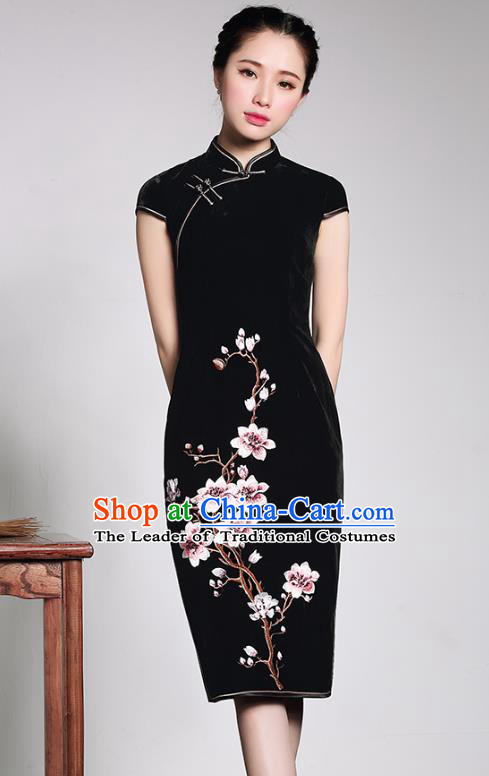 Traditional Chinese National Costume Elegant Hanfu Black Velvet Embroidered Cheongsam, China Tang Suit Plated Buttons Chirpaur Dress for Women