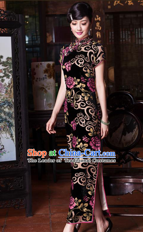 Traditional Chinese National Costume Elegant Hanfu Velvet Embroidered Cheongsam, China Tang Suit Plated Buttons Chirpaur Dress for Women