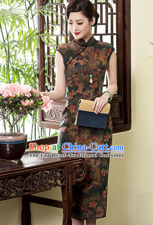 Traditional Chinese National Costume Elegant Hanfu Watered Gauze Cheongsam, China Tang Suit Plated Buttons Chirpaur Dress for Women