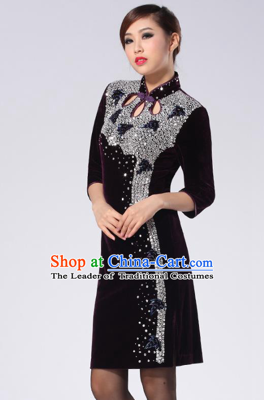Traditional Chinese National Costume Elegant Hanfu Purple Velvet Crystal Cheongsam, China Tang Suit Plated Buttons Chirpaur Dress for Women