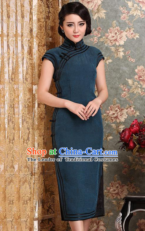 Traditional Chinese National Costume Elegant Hanfu Blue Cheongsam, China Tang Suit Plated Buttons Chirpaur Dress for Women