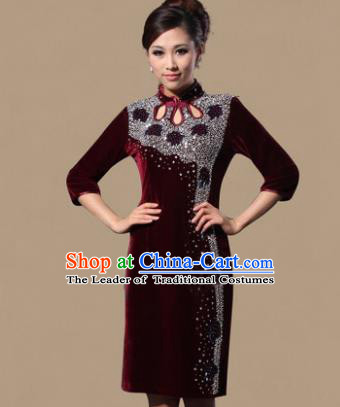 Traditional Chinese National Costume Elegant Hanfu Red Velvet Crystal Cheongsam, China Tang Suit Plated Buttons Chirpaur Dress for Women