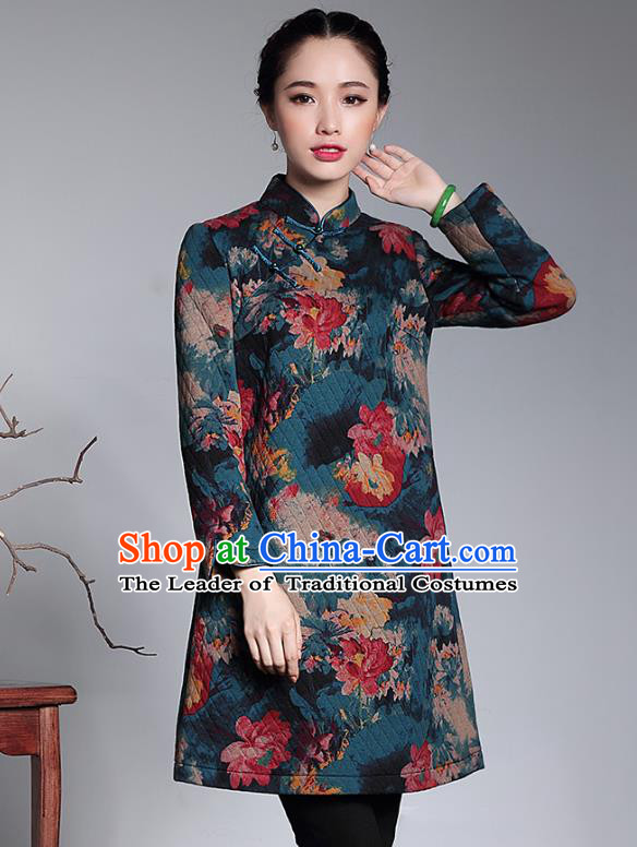 Traditional Chinese National Costume Elegant Hanfu Cheongsam, China Tang Suit Plated Buttons Chirpaur Cotton Padded Coat for Women