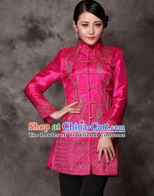 Traditional Chinese National Costume Elegant Hanfu Embroidered Rosy Coat, China Tang Suit Plated Buttons Upper Outer Garment for Women