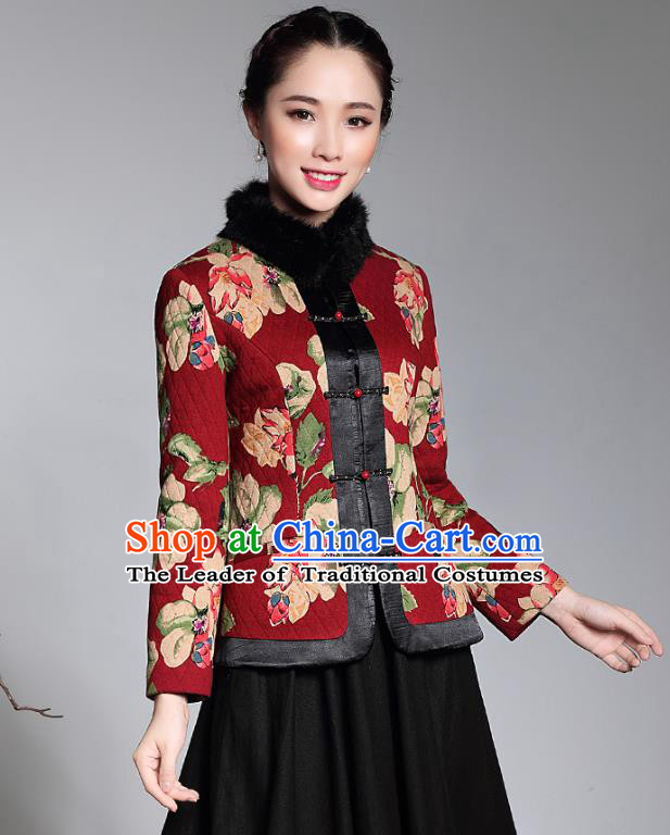 Traditional Chinese National Costume Elegant Hanfu Red Cotton-padded Jacket, China Tang Suit Plated Buttons Coat Upper Outer Garment for Women