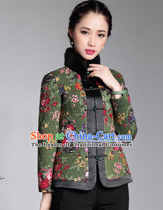 Traditional Chinese National Costume Elegant Hanfu Green Cotton-padded Jacket, China Tang Suit Plated Buttons Coat Upper Outer Garment for Women