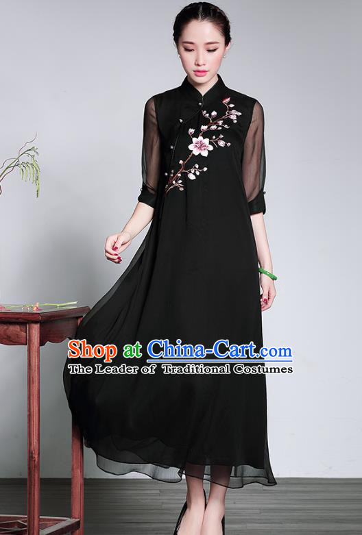 Traditional Chinese National Costume Elegant Hanfu Black Embroidered Cheongsam, China Tang Suit Plated Buttons Chirpaur Dress for Women