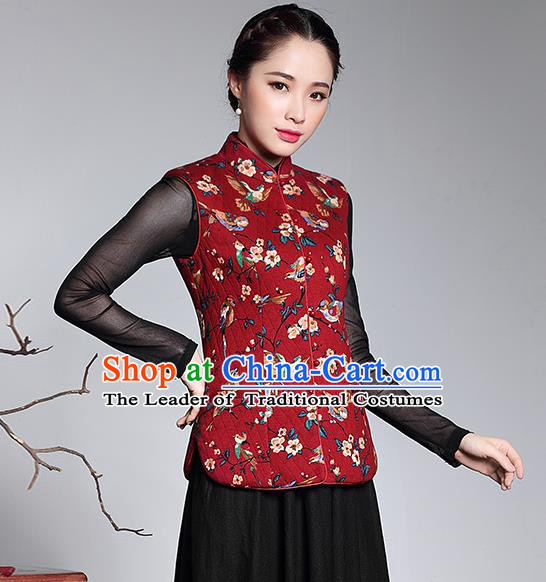 Traditional Chinese National Costume Elegant Hanfu Plated Button Red Vest, China Tang Suit Upper Outer Garment Waistcoat for Women
