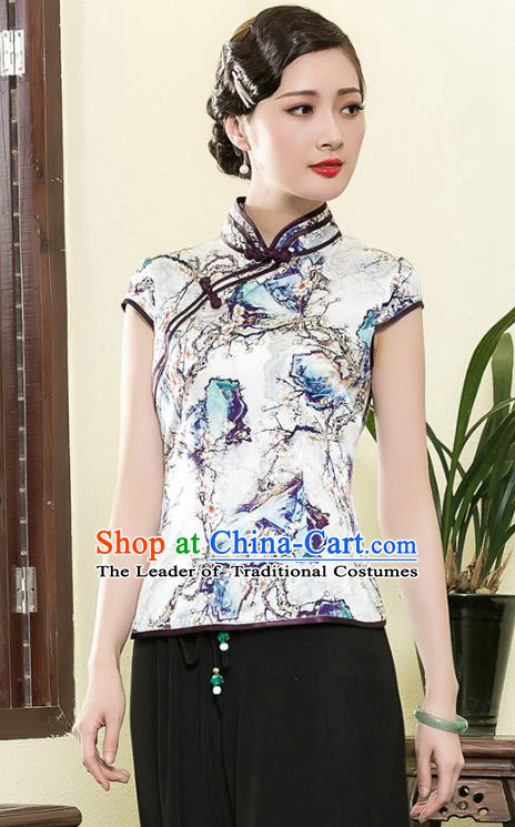 Traditional Chinese National Costume Elegant Hanfu Plated Button Printing Silk Shirt, China Tang Suit Upper Outer Garment Cheongsam Blouse for Women