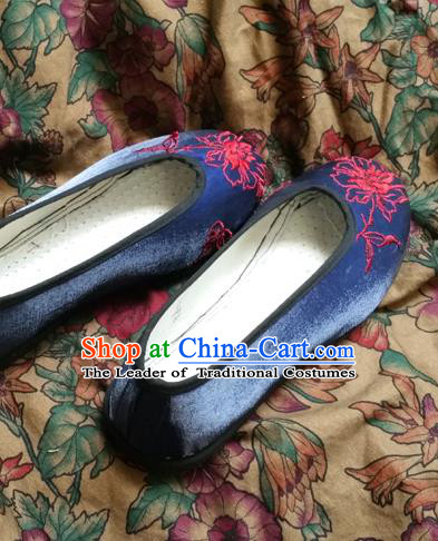Traditional Chinese National Embroidered Shoes Handmade Navy Satin Shoes, China Hanfu Embroidery Flower Shoes for Women