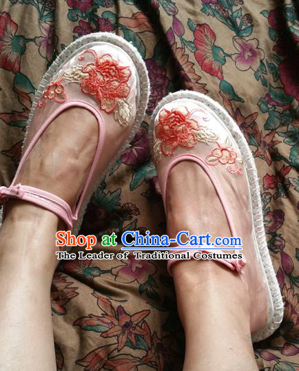 Traditional Chinese National Embroidered Shoes Handmade Pink Satin Shoes, China Hanfu Embroidery Flowers Shoes for Women