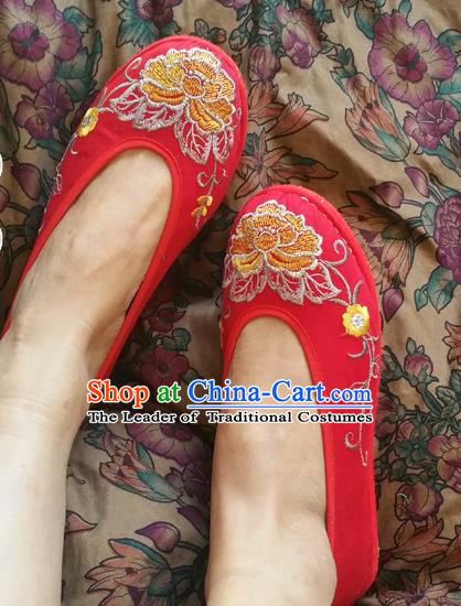 Traditional Chinese National Embroidered Shoes Handmade Red Shoes, China Hanfu Embroidery Flowers Wedding Shoes for Women
