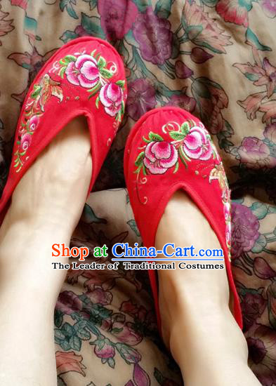 Traditional Chinese National Embroidered Shoes Handmade Red Satin Slippers, China Hanfu Embroidery Flowers Wedding Shoes for Women