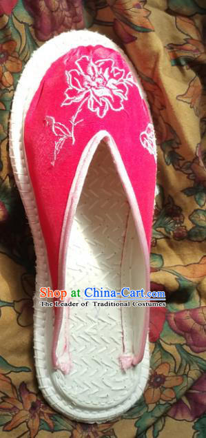 Traditional Chinese National Embroidered Shoes Handmade Bride Pink Satin Slippers, China Hanfu Embroidery Flower Wedding Shoes for Women