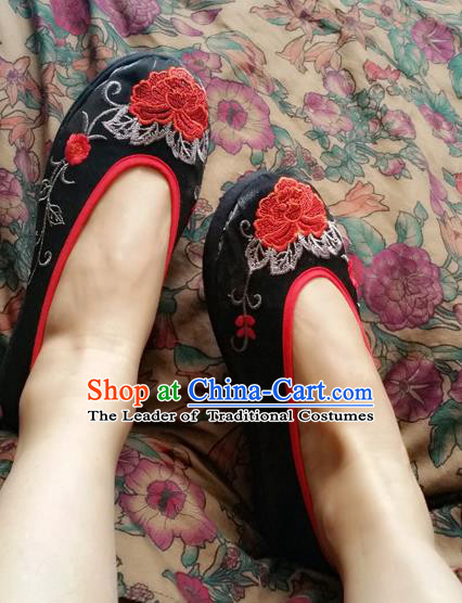 Traditional Chinese National Embroidered Shoes Handmade Black Satin Shoes, China Hanfu Embroidery Peony Flowers Wedding Shoes for Women