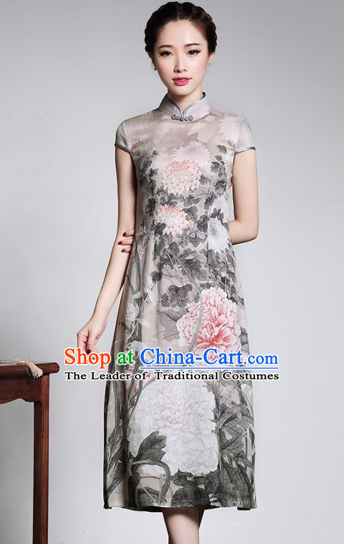 Traditional Chinese National Costume Elegant Hanfu Printing Linen Cheongsam, China Tang Suit Slant Opening Chirpaur Cheong-sam for Women