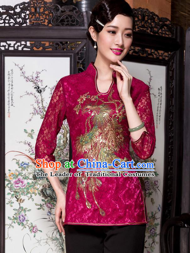 Traditional Chinese National Costume Elegant Hanfu Embroidery Peacock Red Shirt, China Tang Suit Blouse Cheongsam Upper Outer Garment for Women