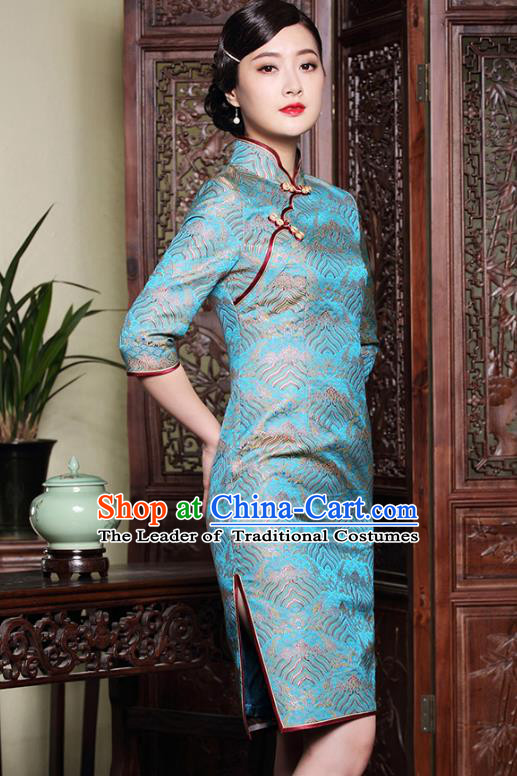 Traditional Chinese National Costume Elegant Hanfu Blue Silk Cheongsam, China Tang Suit Plated Buttons Chirpaur Dress for Women