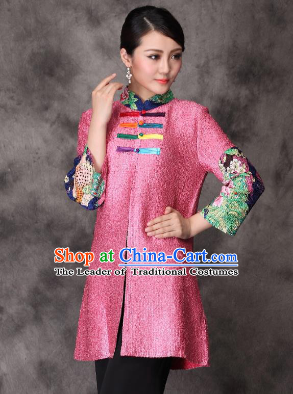 Traditional Chinese National Costume Elegant Hanfu Cheongsam Jacket, China Tang Suit Plated Buttons Chirpaur Coat for Women