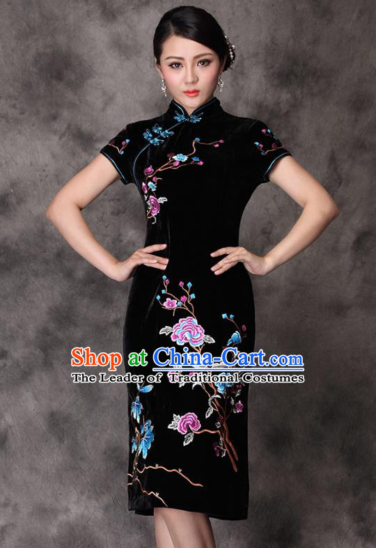 Traditional Chinese National Costume Elegant Hanfu Embroidered Black Velvet Cheongsam, China Tang Suit Plated Buttons Chirpaur Dress for Women