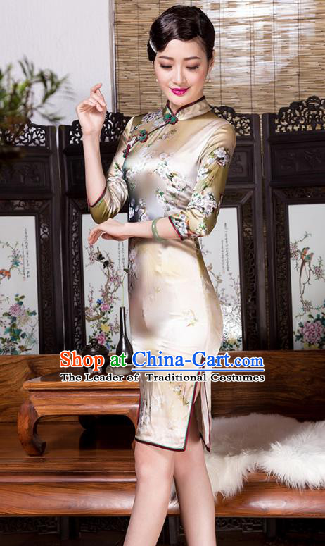 Traditional Chinese National Costume Elegant Hanfu Silk Cheongsam, China Tang Suit Plated Buttons Chirpaur Dress for Women