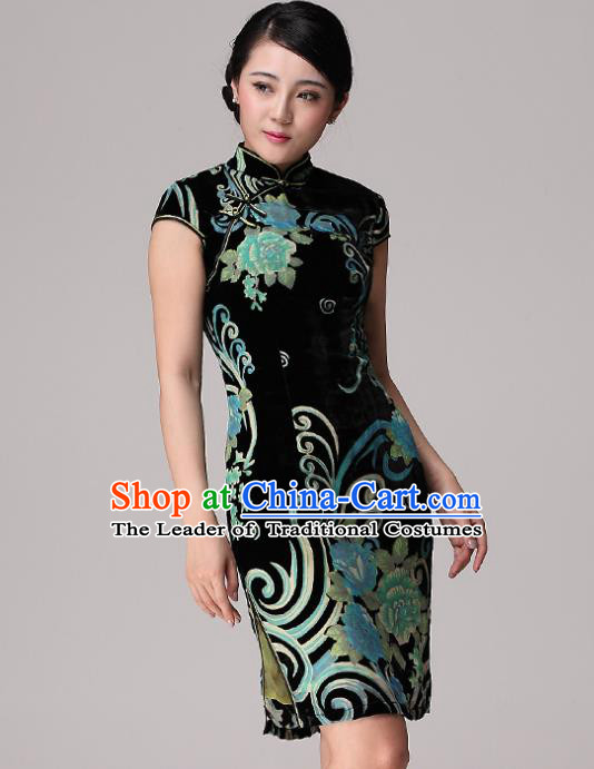 Traditional Chinese National Costume Elegant Hanfu Velvet Green Cheongsam, China Tang Suit Plated Buttons Chirpaur Dress for Women