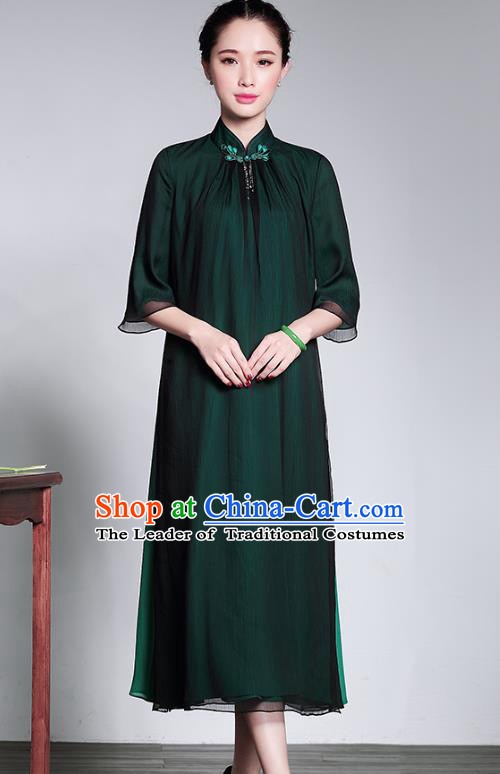 Traditional Chinese National Costume Elegant Hanfu Green Cheongsam Dress, China Tang Suit Plated Buttons Chirpaur Dress for Women