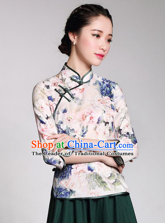 Traditional Chinese National Costume Elegant Hanfu Plated Button Silk Shirt, China Tang Suit Upper Outer Garment Cheongsam Blouse for Women